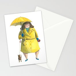 Glória e Mimi chic à chuva - Gloria and Mimi chic under the rain Stationery Cards