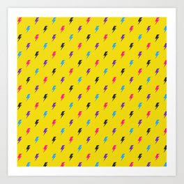 Colourful lightning Art Print
