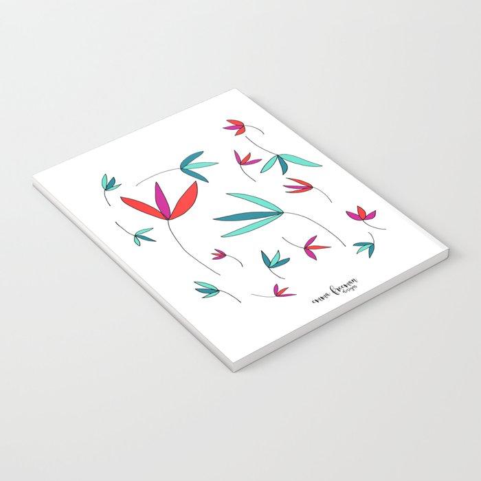 Happy Flowers Drawing by Emma Freeman Designs Notebook