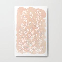 Watercolor Blush Leaves Metal Print