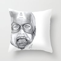 avenger Throw Pillows featuring Zombie Avenger by THINGS I DOODLE