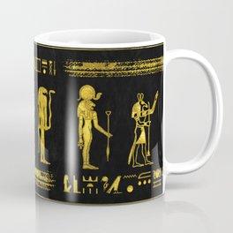 Golden Egyptian Gods and hieroglyphics on leather Coffee Mug
