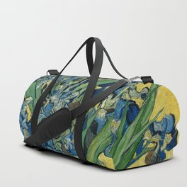 Still Life: Vase with Irises Against a Yellow Background Duffle Bag