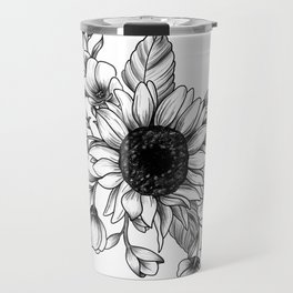Bouquet of Flowers with Sunflower / Fall floral lineart Travel Mug