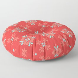 Red Background with Coral and Aqua Flower Pattern Floor Pillow