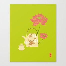 Chinese Antique - teapot and lotus Canvas Print