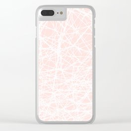 Contemporary  White Line Art on Pink-Mix & Match with Simplicity of life Clear iPhone Case