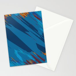 psychedelic geometric abstract background in blue yellow brown Stationery Cards