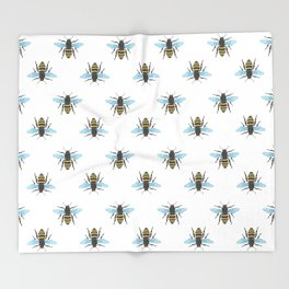 Watercolour Bee Pattern Throw Blanket