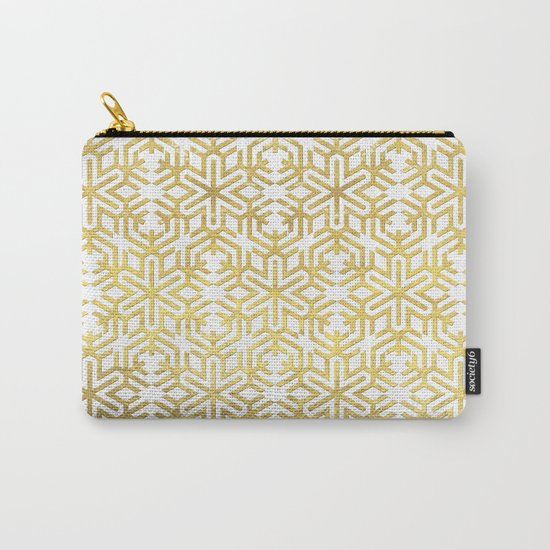 White and Gold Snowflake Pattern Carry-All Pouch