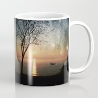 hemingway Mugs featuring The old man and the sea by Paula Belle Flores