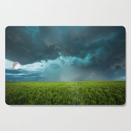 April Showers - Colorful Stormy Sky Over Lush Field in Kansas Cutting Board