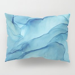 Blue Marble Waves Ink Painting Pillow Sham