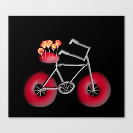Bike With Roses Black Background With Red Canvas Print