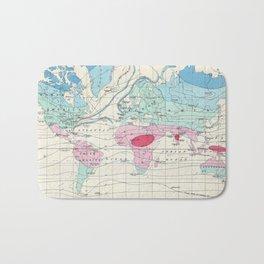 Vintage World Climate Map (1870) Bath Mat