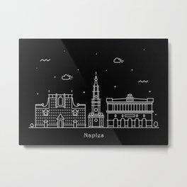 Naples Minimal Nightscape / Skyline Drawing Metal Print