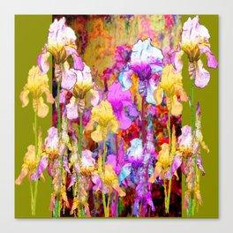 MIXED IRIS FLORAL AVOCADO ART DESIGN Canvas Print