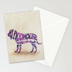 The Bloodhound Typography Art / Watercolor Painting Stationery Cards