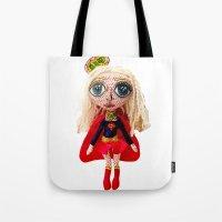 karu kara Tote Bags featuring Kara Zoe-El ~ Supergirl by Chiara Venice Art Dolls