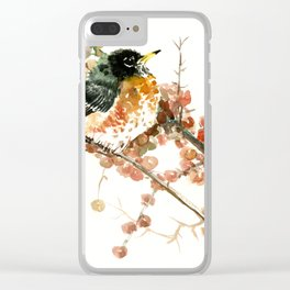 American Robin And Berries, orange bird art Clear iPhone Case