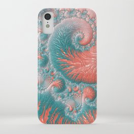 Abstract Coral Reef Living Coral Pastel Teal Blue Texture Spiral Swirl Pattern Fractal Fine Art iPhone Case