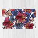 Tropical pattern with hibiscus flowers. Hawaii style watercolor by fleurdesign