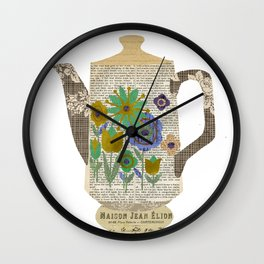 Mod Flowers Coffee Pot Collage Wall Clock