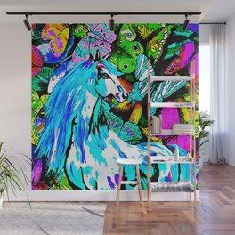 Horses and Butterflies Wall Mural