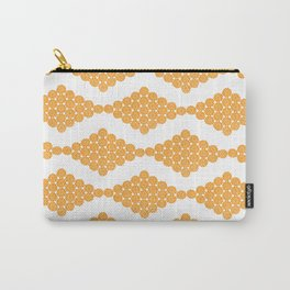 Orange Floral Doily Pattern Carry-All Pouch