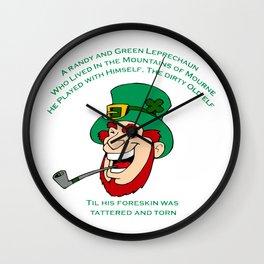 A Randy And Green Leprechaun St Patrick's Day Limerick Wall Clock