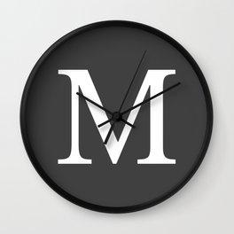 Very Dark Gray Basic Monogram M Wall Clock