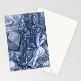 "Albrecht Dürer ""Melancholia I"" edited blue Stationery Cards"