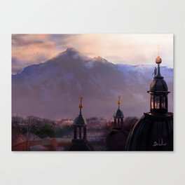 Overlooking the Mountain Town Canvas Print