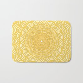 Spiral Mandala (Yellow Golden) Curve Round Rainbow Pattern Unique Minimalistic Vintage Zentangle Bath Mat