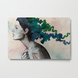Moral Eclipse (colorful hair woman with moths tattoos) Metal Print