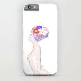 Abstract naked body with flowers ink drawing. Woman portrait minimalist style. iPhone Case