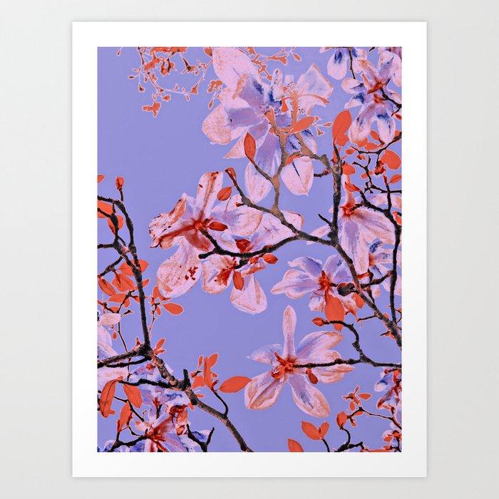 Copper Flowers on violett ground Art Print