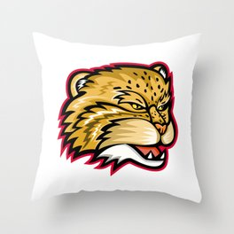 Manul or Pallas Cat Head Mascot Throw Pillow