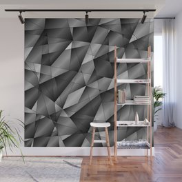 Exclusive monochrome pattern of chaotic black and white fragments of glass, metal and ice floes. Wall Mural