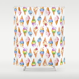 Ice cream watercolor Shower Curtain