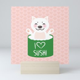 I love sushi. Kawaii funny sushi roll and white cute cat with pink cheeks, emoji. Pink background Mini Art Print