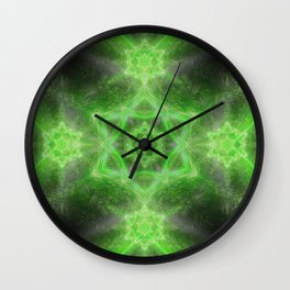 Emerald Star Mandala Wall Clock