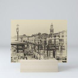 Rialto, Venezia (Monochrome) Mini Art Print
