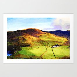 Looking Down to Buttermere Valley, Lake District, UK.  Watercolor Painting Art Print