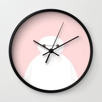baymax Wall Clocks featuring baymax by punziella
