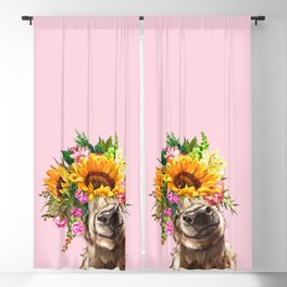 Sunfowers crown Highland Cow in Pink Blackout Curtain