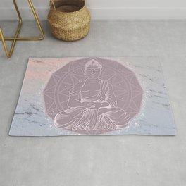 Boho Love Mandala On Watercolor Marble Rug