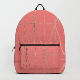 Modern geometric triangles faux rose gold coral pattern Backpack