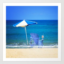 Blue Rocking Chair Art Print