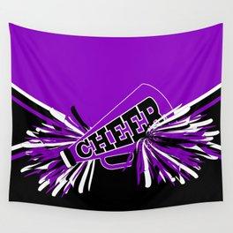 Purple, Black and White Cheerleader Design Wall Tapestry
